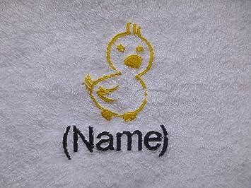 Toalla de baño con un POLLITO Logo y nombre de su elección (por favor envíenos