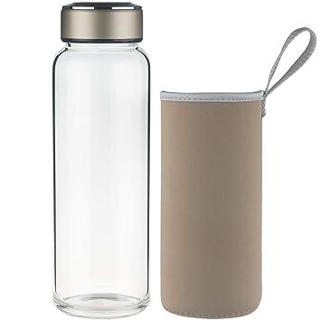 SHBRIFA Botella de Agua de Vidrio de Borosilicato Deportivo 1000ml, Botella de Agua de Cristal. Pasa ...