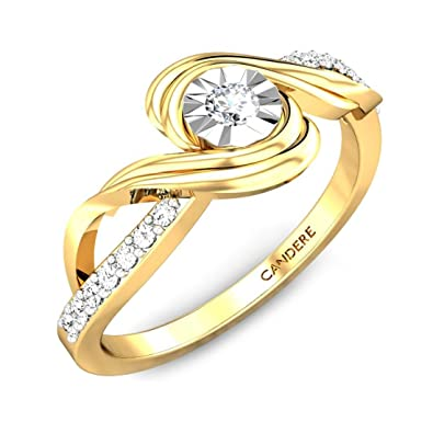 Candere By Kalyan Jewellers 18k (750) Yellow Gold and Diamond Ring for Women