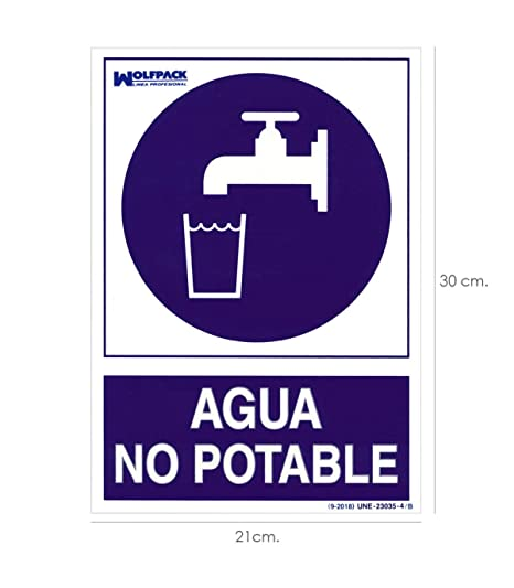 Wolfpack 15050954 Cartel Agua No Potable 30x21cm.