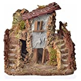 Nativity setting, country cottage with stairs 19x19x16cm