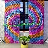 Marusthali indian multicolor tie dye mandala curtain hippie Bohemian Handmade mandala curtains, Include 2 Panel Set Mandala Curtain, Twin Tapestry, Drapes & Valances,Vintage Window Treatment Curtain