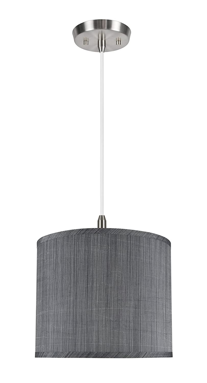 Shade in Grey /& Black 12 x 12 x 10 Spider Aspen Creative 71015 One-Light Pendant with Hardback Drum Shaped