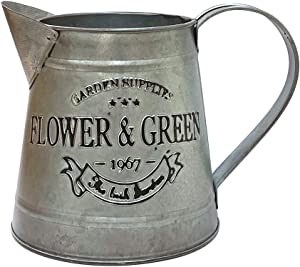 "WHHOME Shabby Chic Silver Watering Can Galvanized Finish Metal Vase Country Rustic Pitcher Primitive Jug Decorative Flower Holder, 4.7"" H(Small)"