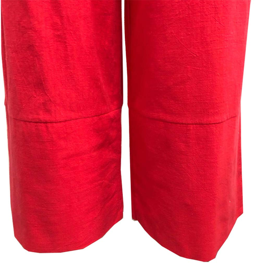 Inforin Women Summer Solid High Waist Loose Casual Cotton Linen Pockets Wide Leg Pants