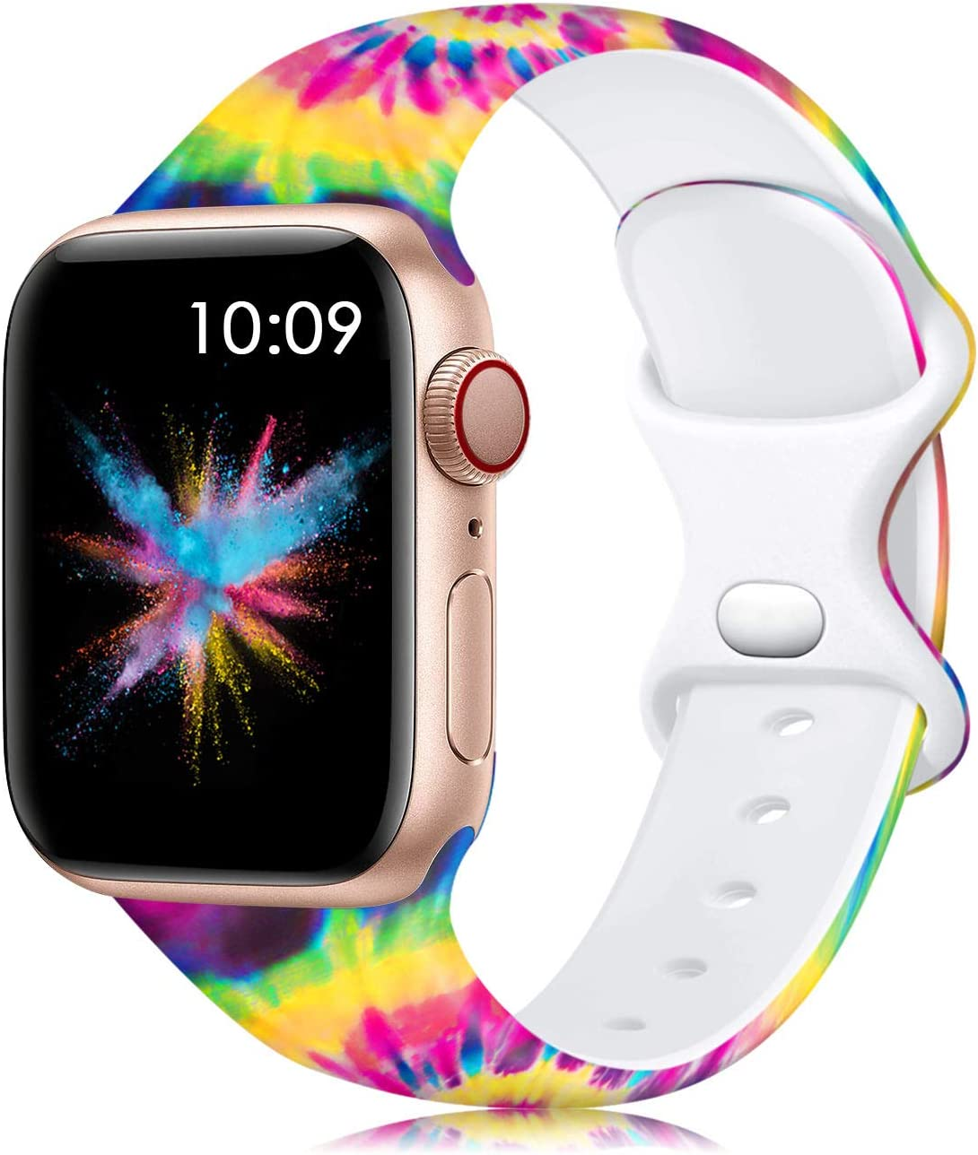 Lerobo Band Compatible with Apple Watch Bands SE 40mm 38mm for Women Men, Silicone Fancy Pattern Printed Replacement Band for Apple Watch SE Series 6 Series 5 Serise 4 Serise 3 2 1, Tie Dye S/M