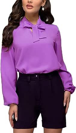 Sevozimda Blusas De Oficina para Mujer Tops Moño Nudo Manga Larga Ropa para Trabajar Camisas: Amazon.es: Ropa y accesorios
