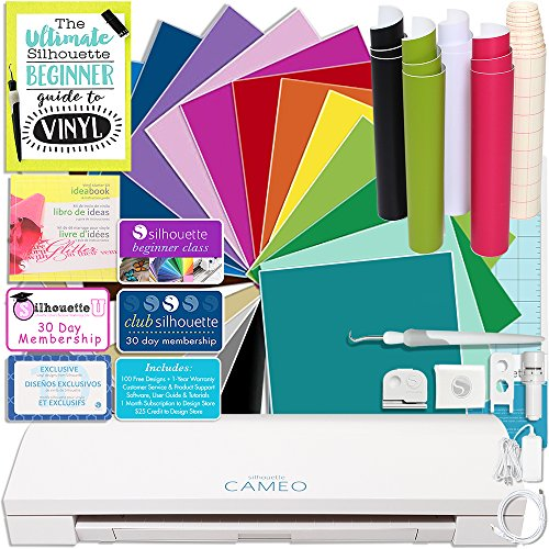 Silhouette CAMEO 3 Bluetooth Delux Vinyl Starter Bundle with 12x12 Vinyl Sheets, Transfer Paper, Guide, Class, Tools, and More by Silhouette