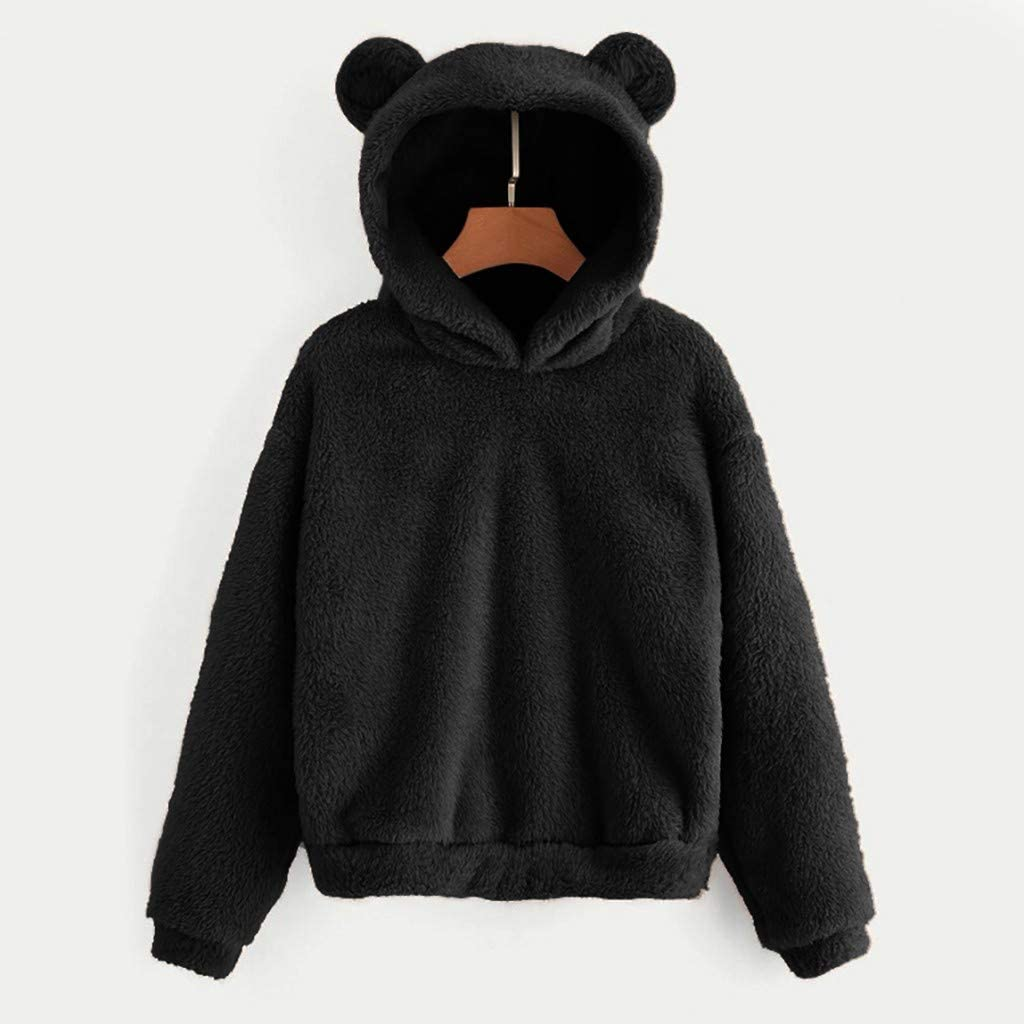 Meikosks Womens Fleece Sweatshirt Winter Warm Tops Bear Shape Fuzzy Hoodie Solid Pullover