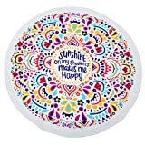KING DO WAY Round Mandala Tapestry Soft Breathable Beach Mat Used as Yoga Mat Sunscreen Shawl Wrap Skirt Tassels Table Cover, Wall Hanging Decoration 59''