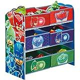 Hello Home Pj Masks Kids Bedroom Toy Storage Unit with 6 Bins, Wood, Multicoloured