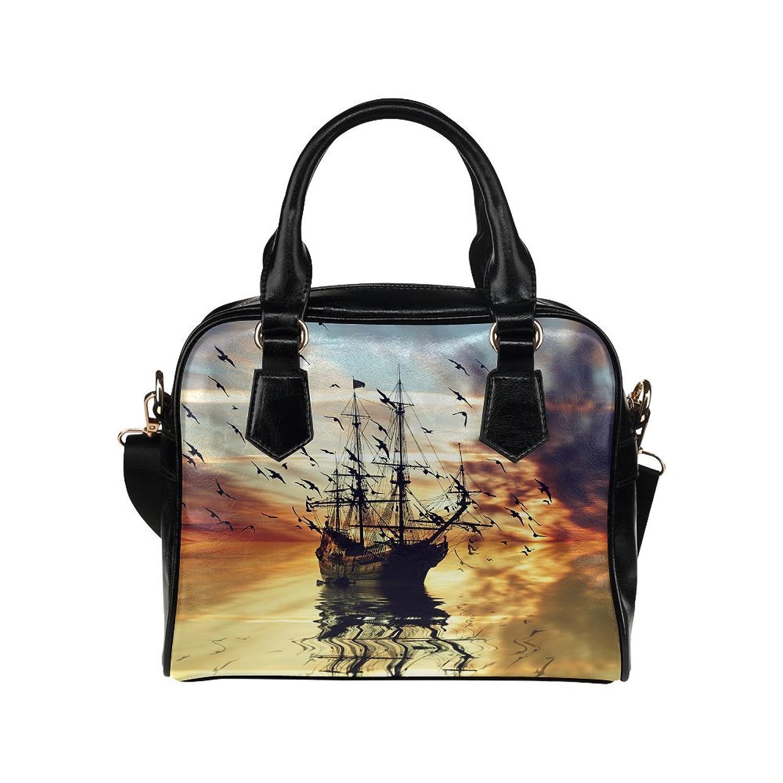 InterestPrint Sailboat Sunset Seascape Women's Shoulder Handbag/Tote Bag/Travel Bag