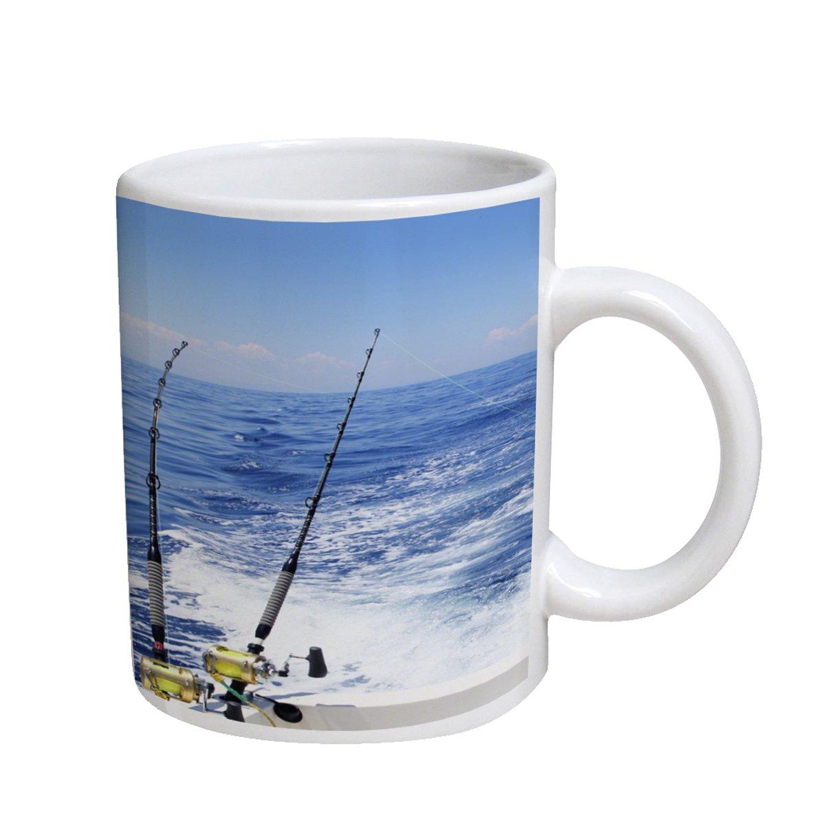 釣りリールオーシャンブルー11オンスコーヒーカップマグ 11オンス ホワイト FishingReelsOceanBlue B012EX3VGK  ホワイト