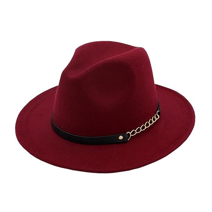 Ahatech Mujer Sombrero Fedora Panamá Invierno Lana Sombrero Fieltro para  Mujers  Amazon.es  Ropa y accesorios 3daf8ab083f