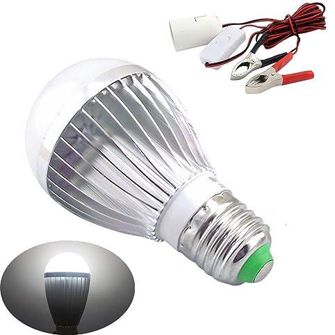 Bonlux E27 Dc Ac 12v LED Light Bulb Solar Battery Lamp For Motor Home  Marine Dc