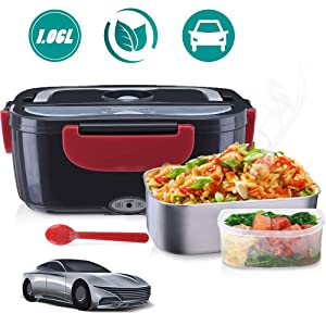 Janolia Electric Food Heater, Portable Electric Lunch Box for Car, with Stainless Steel Bowl, Food Grade PP Plate, Spoon