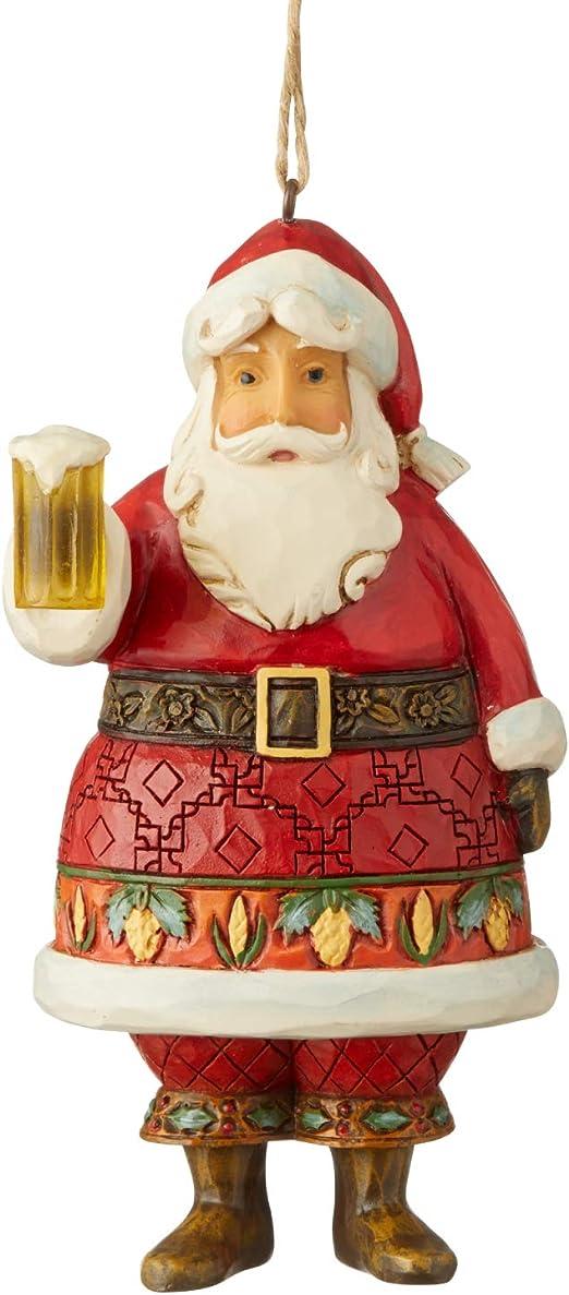 Enesco Jim Shore Heartwood Creek Victorian Santa with Horn Hanging Ornament Multicolor 4.5 Inch