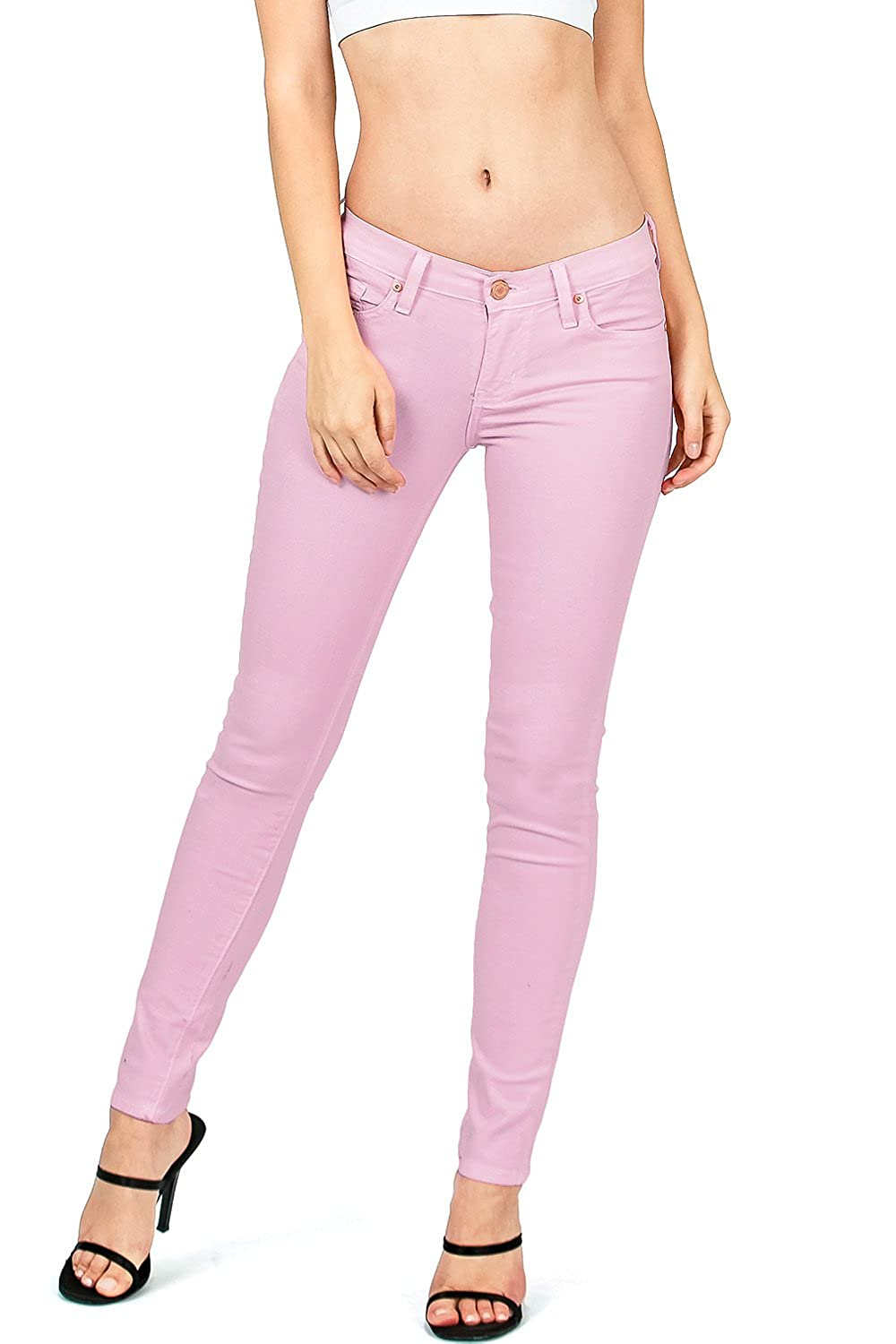 Lavander Angry Rabbit by Pink Ice Women's Juniors Mid Waist Skinny colord Jeans