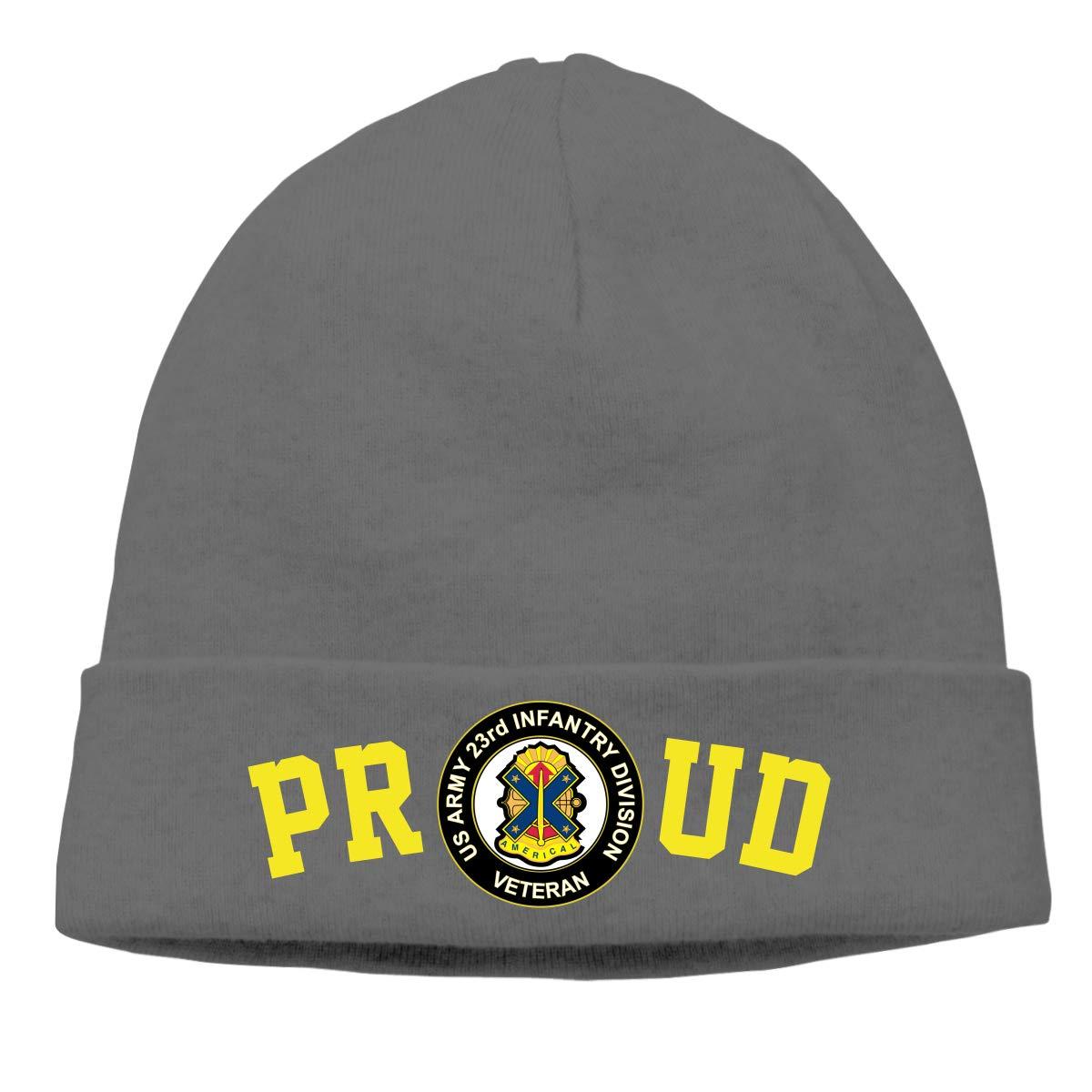 Proud US Army Veteran 23rd Infantry Division Mens Beanie Cap Skull Cap Winter Warm Knitting Hats.