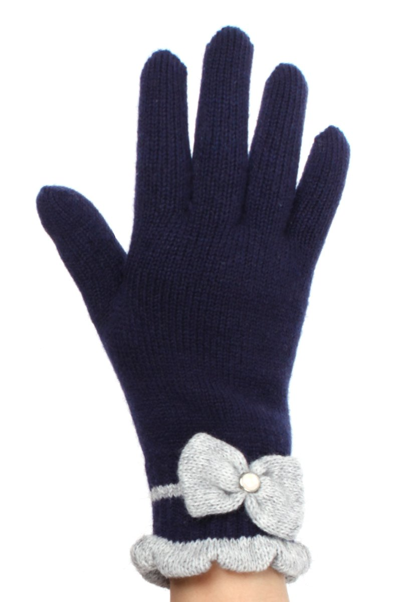 LL Womens Warm Winter Knit Fashion Gloves, Fleece Lined - Many Styles (Pearl Navy Blue)