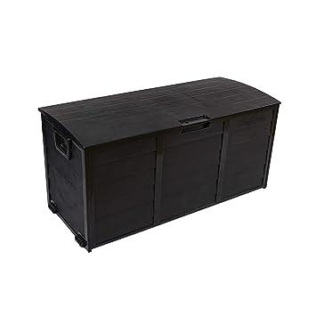 Rebecca Mobili Coffre de Jardin Coffre de Rangement Noir Exterieur 290 L  Plastique Multi-Usage Porte-Outils Jeux - 54x112x49 cm (H x L x P) - Art.  ...