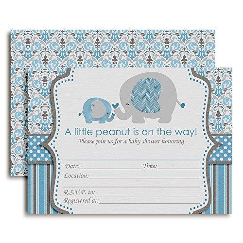 Blue Elephant Baby Shower Invitations, 20 5