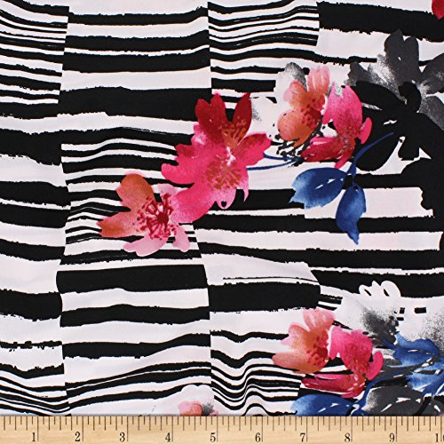 Telio Brazil Stretch ITY Knit Double Border Floral Fabric, Black White Red, Fabric By The ()