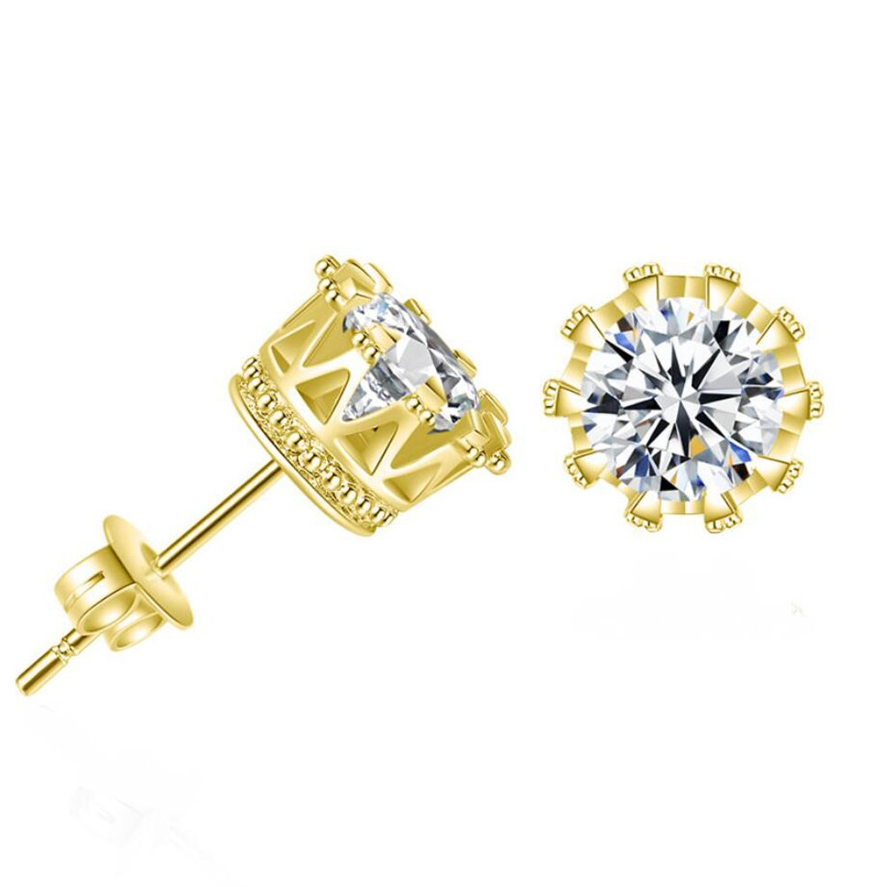 Gold Earrings for Men Women Mens Earrings Stud CZ Round Studs Earring Girls Crown Earrings 6mm 8mm 10mm Size
