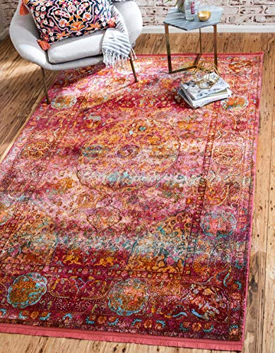 Unique Loom Baracoa Collection Bright Tones Vintage Traditional Red Area Rug 5 5 x 8 0