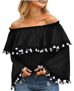 13d8b4d4c13cf4 Jmwss QD Womens Summer Ruffle Off Shoulder Bell Sleeve Tassel Blouse Tops