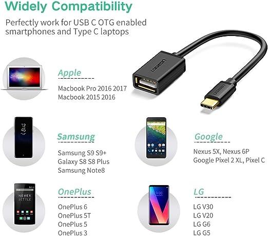 Huawei P30 Pro P20 Mate 20 P10 UGREEN Adaptador OTG 2 en 1 Adaptador USB Tipo C y Micro USB Macho a USB 3.0 Hembra para Samsung Galaxy S20 Plus S10 S9 Note 10 Xiaomi Mi 10 Mi A2 Mi A1 Redmi Note 8