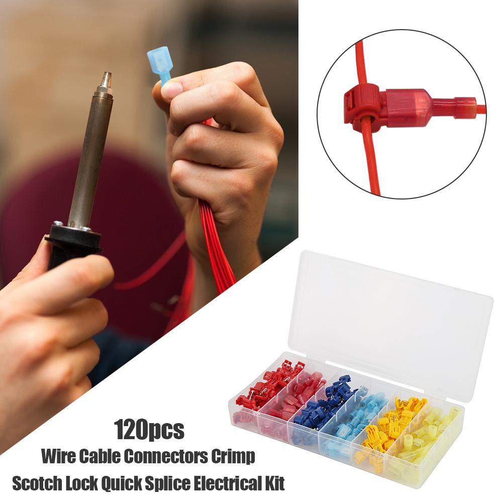 60x Terminals Connectors Quick Splice Scotch Lock T Tap Wire Joint Crimp Cable