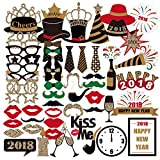 PBPBOX 59PCS Photo Booth Props for 2018 New Years Eve Party Supplies Decorations