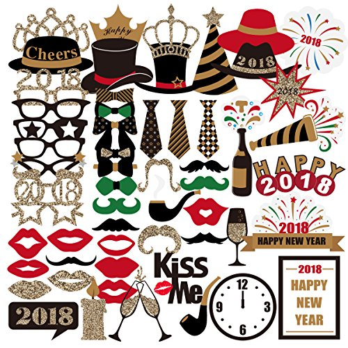 PBPBOX New Years Eve Photo Booth Props 2018 for New Years Eve Party Supplies Favors, New Years Eve Decorations - 59 - Party Warehouse Supplies
