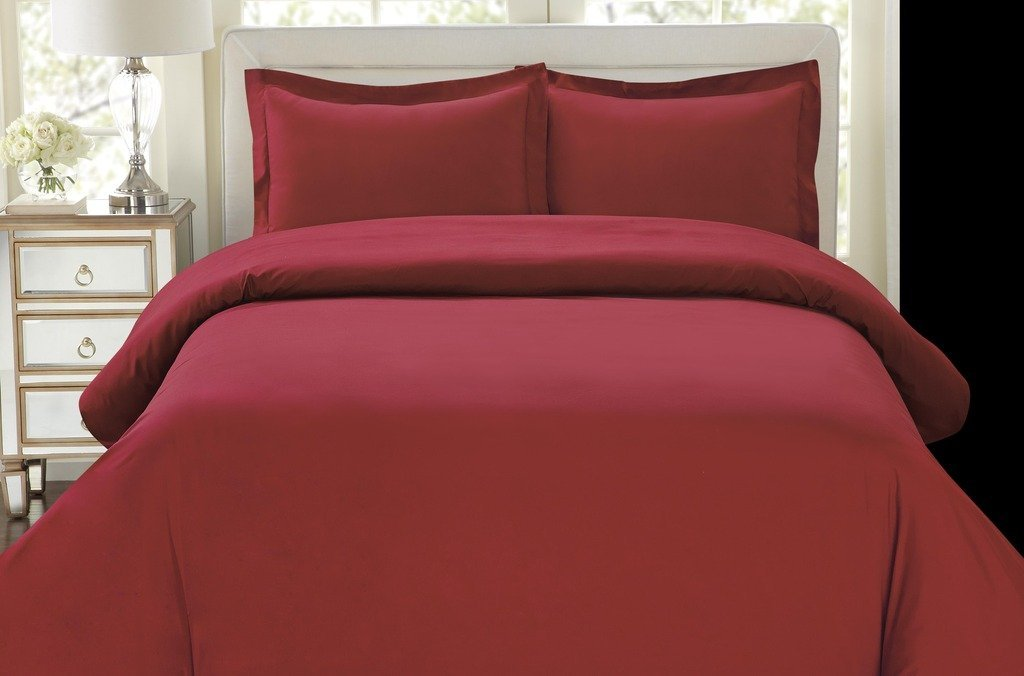 Hotel Luxury 3pc Duvet Cover Set King Size Burgundy