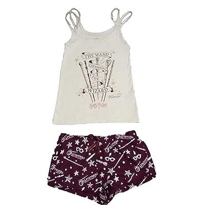 -Harry Potter:- Mago Camisola & Pantalones Cortos Pijama Pijama PJ Juego para Regalo Mujer Nuevo con Etiqueta - Color Avena/Burdeos, UK L 14-16 / EUR 42-44/ USA 10-12: Ropa y accesorios