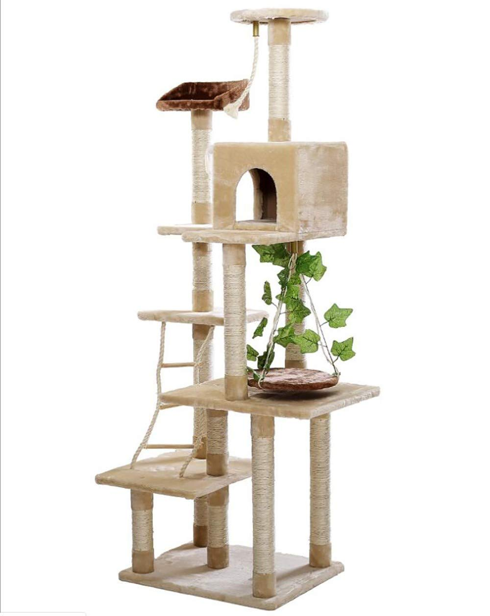 Cat Tree Condo Furniture Natural Sisal Cover Multi-Level Cat Tree Multi-Layer Platform Double Cat Litter Spacious and Comfortable Sturdy and Scratch Resistant Height is 185 cm