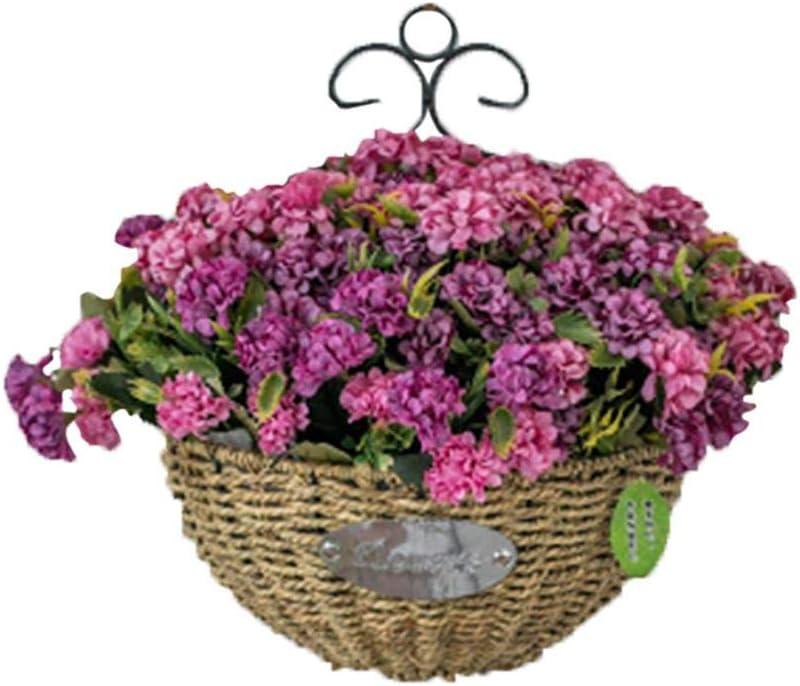 azul decoraci/ón de la cesta de flores para interiores y exteriores Maceta de mimbre artificial para colgar en la pared Wimark flores de la fortuna