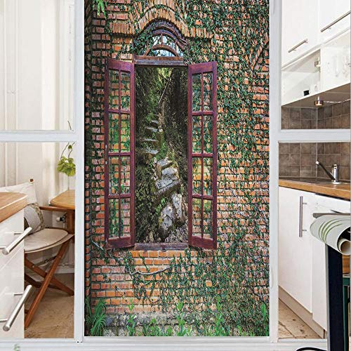 Decorative Window Film,No Glue Frosted Privacy Film,Stained Glass Door Film,House with Open Windows inside Forest View Brick Wall with Ivy Rural Print Decorative,for Home & Office,23.6In. by 47.2In Mu