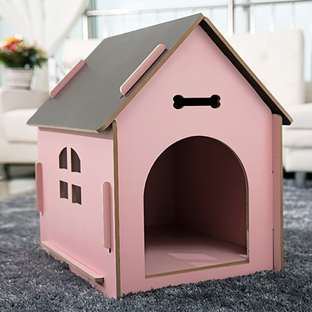 PINK MCats and Dogs House Wooden Indoor Outdoor  pet  nest (color   bluee, Size   M)