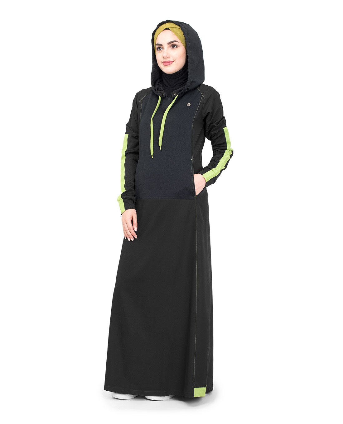 Silk Route Black & Lime Hooded Taslon Sporty Maxi Dress Jilbab Medium 58