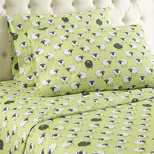 (Micro Flannel Shavel Durable & Luxurious Printed Sheet Set Twin, Flat/Fitted Sheet 66x96/75x39x14; Pillowcase 21x32 - Sheep Green.)