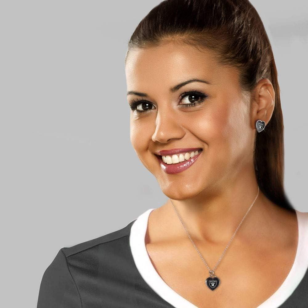NFL Oakland Raiders Wincraft Women 3D Heart Ear Studs