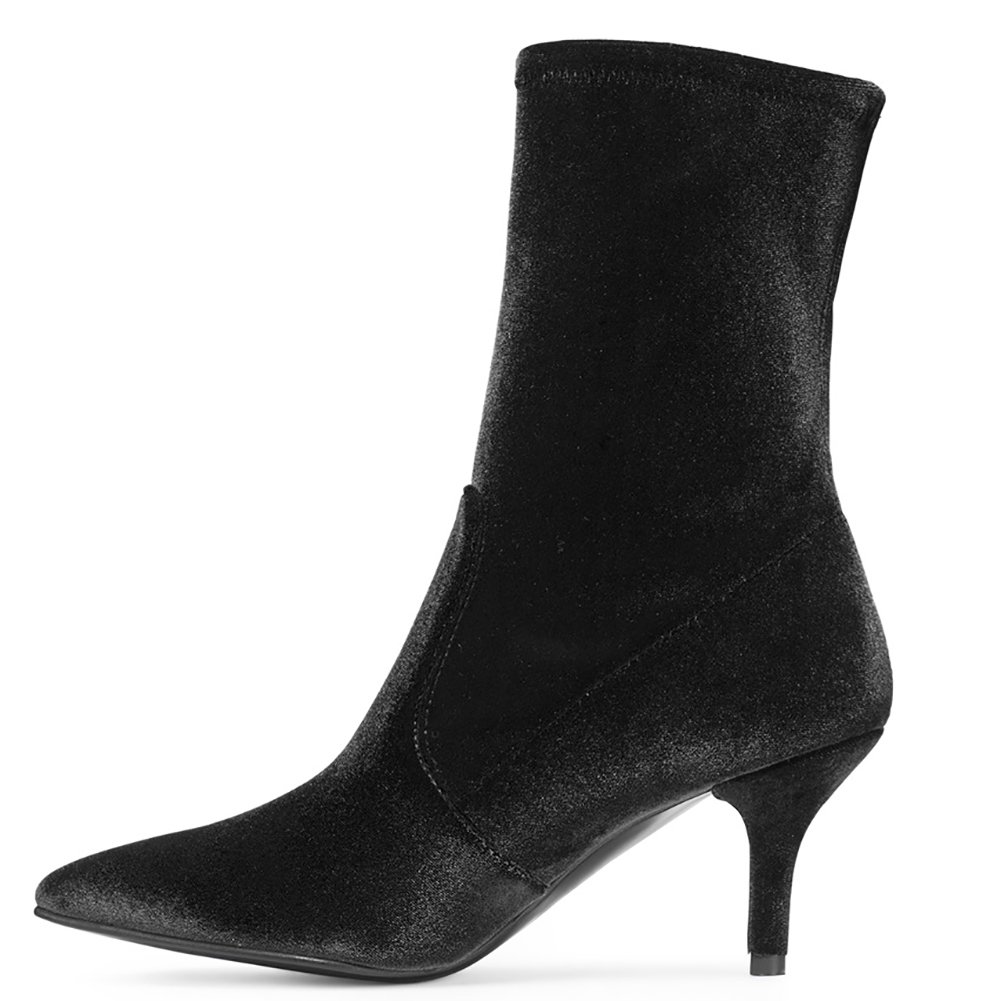 Sock Boots for Women,Women's Slip On Pointed Toe Mid Calf Boots Stretchy Suede Kitten Heel Booties B078RKLPM7 10 B(M) US|Black Velvet-6.5cm
