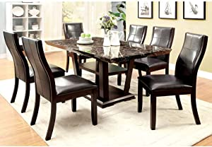 Furniture of America Elivia Modern Faux Marble Dining Table - Cherry