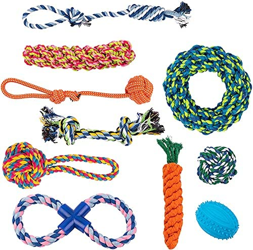 Vacker Design Dog Toys, Chew Toys for Teething, Boredom, Play. Natural Rope Toys for Puppies, Small, Medium dogs