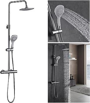 AuraLum - Juego de ducha con termostato (montaje en pared, sistema ...