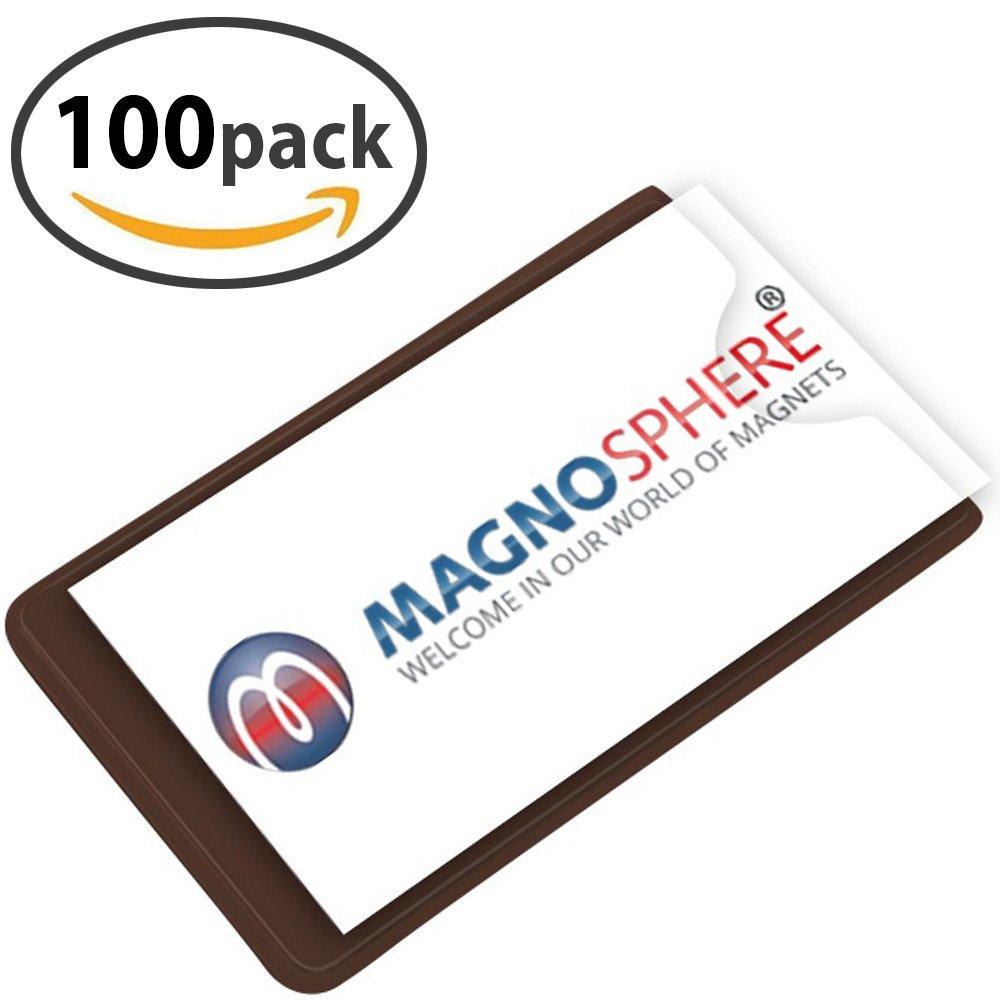 100 x Porta etichette magnetiche per scaffali - Dimensioni: 10cm x 6cm - 100 pezzi - Cartellini magnetici per etichettare - Buste e tasche magnetiche Magnosphere