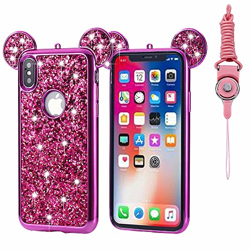 - iPhone X Case Glitter, Umiko(TM) Luxury 3D Mickey & Minnie Mouse Ears Crystal Diamond Bling Rhinestone Sparkle Diamond Protective TPU Rubber Case with Strap for Apple iPhone X, Hot Pink