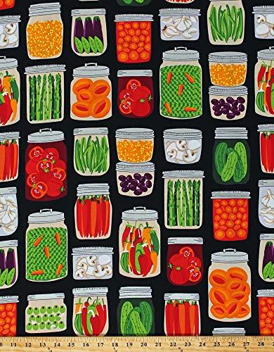 Cotton Vegetables Jars Canned Veggies Garden Farm Food Kitchen What